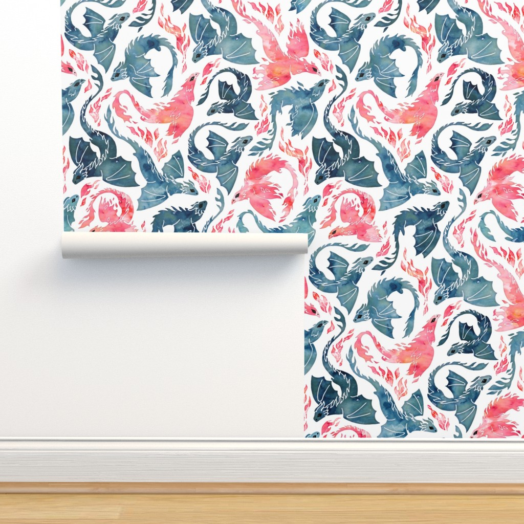 Isobar Durable Wallpaper featuring Dragon and red phoenix fire by adenaj
