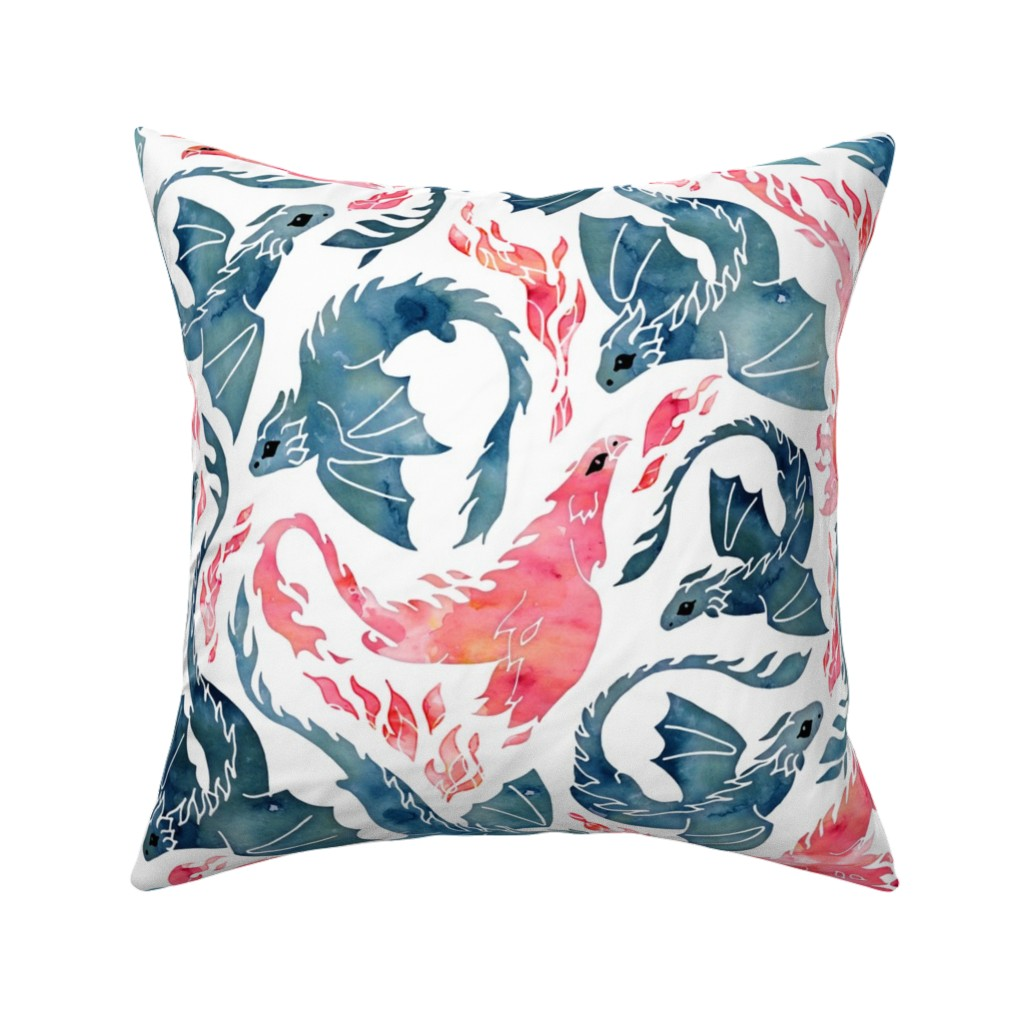 Catalan Throw Pillow featuring Dragon and red phoenix fire by adenaj