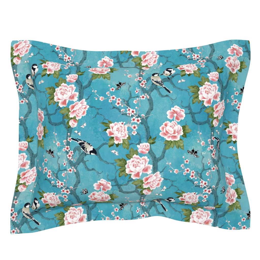 Sebright Pillow Sham featuring Chinoiserie birds by adenaj