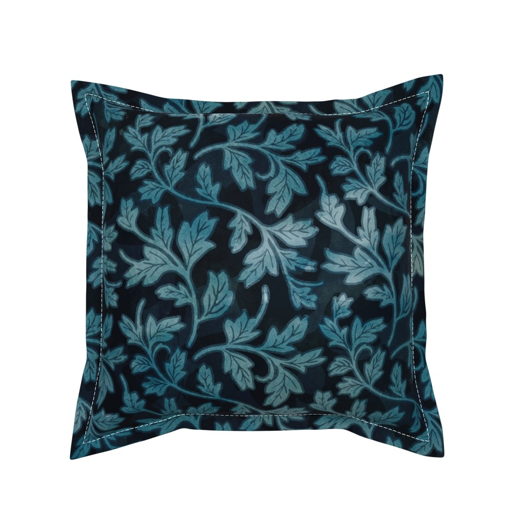 Serama Throw Pillow featuring Victorian Peony Leaf Coordinate by adenaj