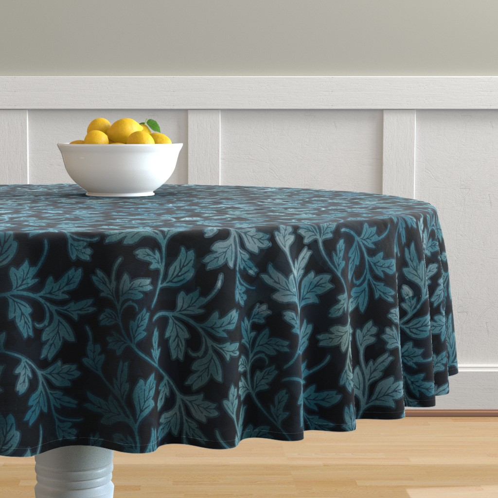 Malay Round Tablecloth featuring Victorian Peony Leaf Coordinate by adenaj