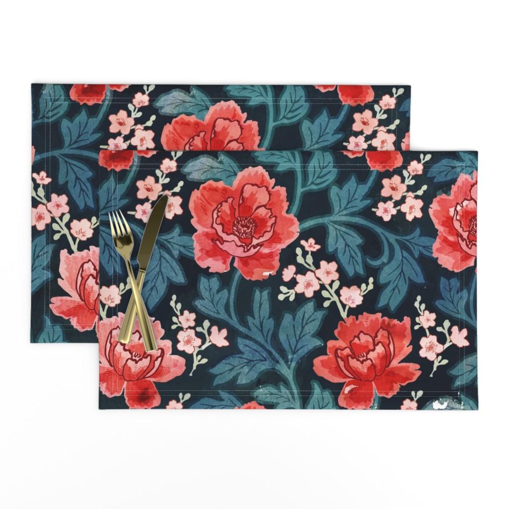 Lamona Cloth Placemats featuring Victorian Peony by adenaj