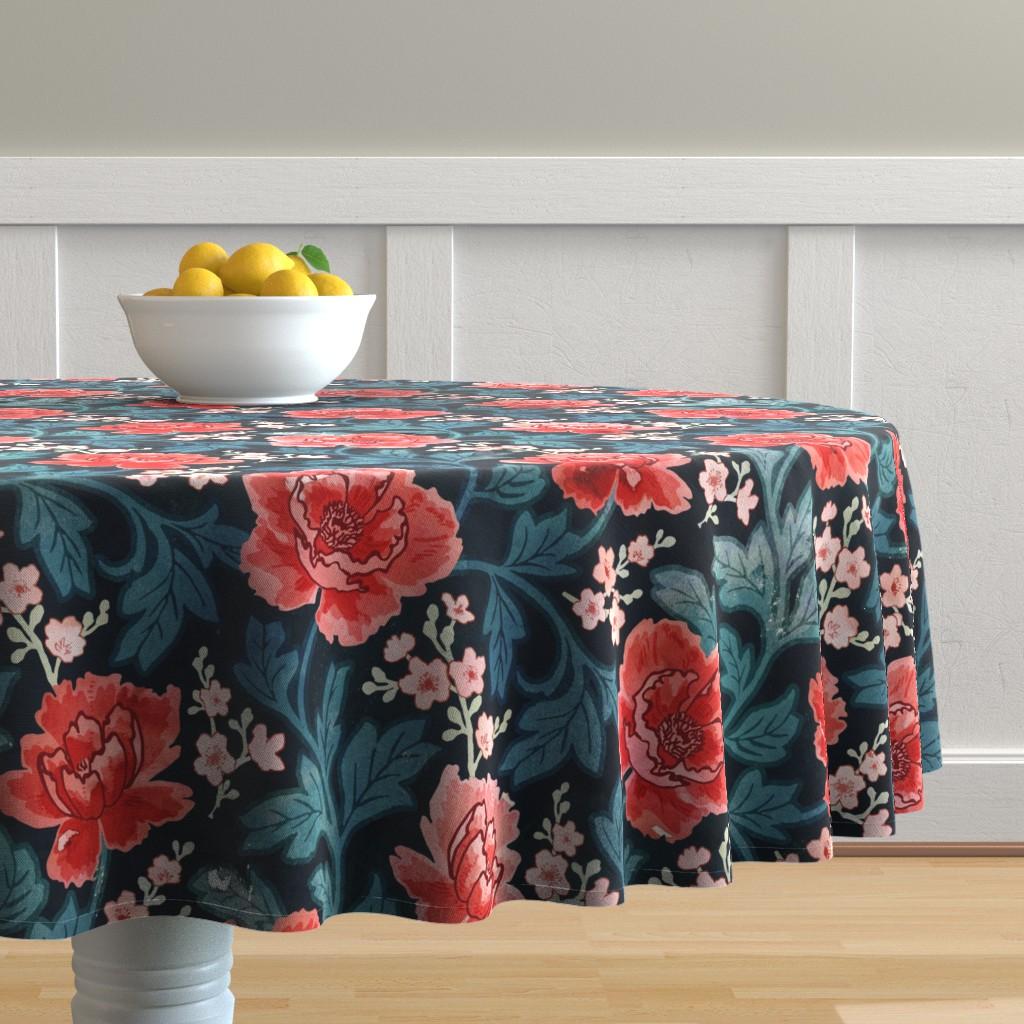 Malay Round Tablecloth featuring Victorian Peony by adenaj