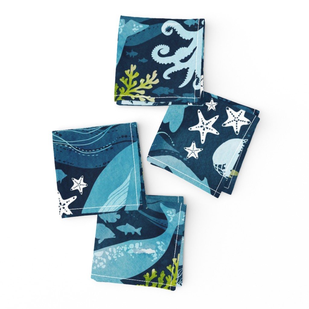 Frizzle Cocktail Napkins featuring Ocean life in turquoise large scale by adenaj