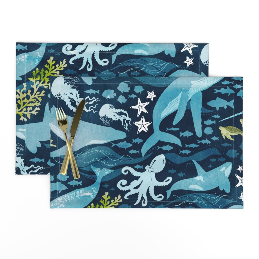 Lamona Cloth Placemats featuring Ocean life in turquoise large scale by adenaj