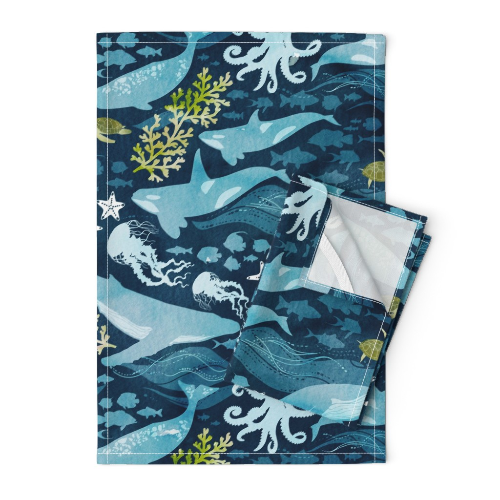 Orpington Tea Towels featuring Ocean life in turquoise large scale by adenaj