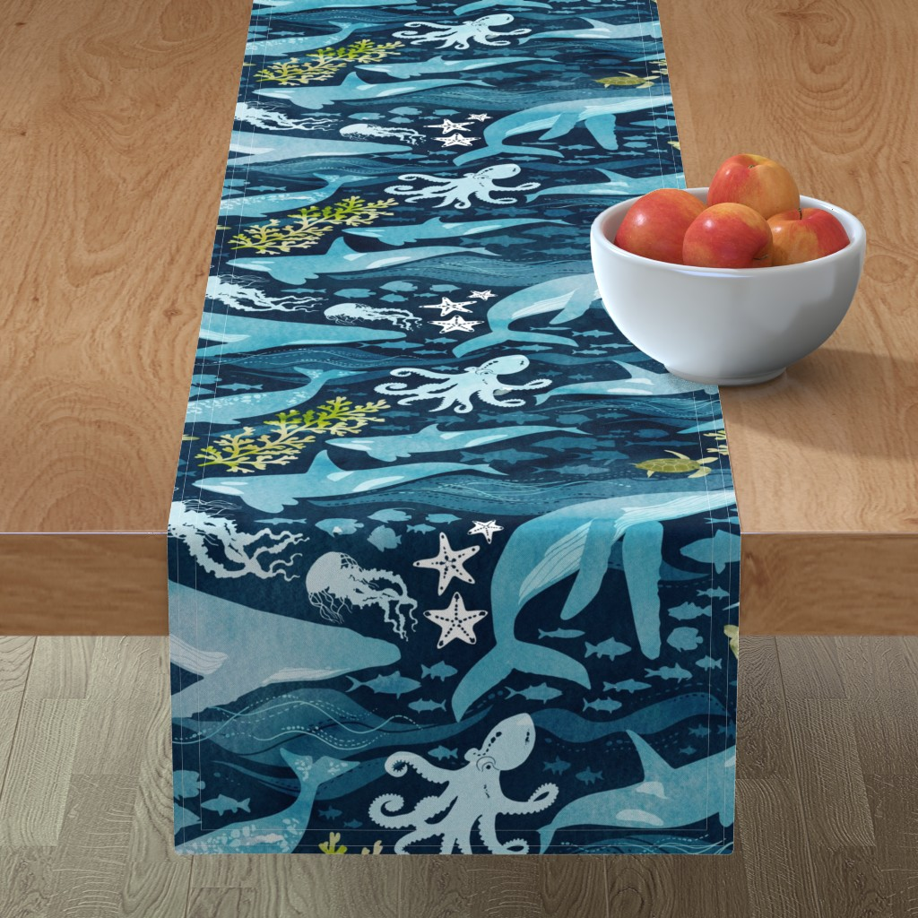 Minorca Table Runner featuring Ocean life in turquoise large scale by adenaj