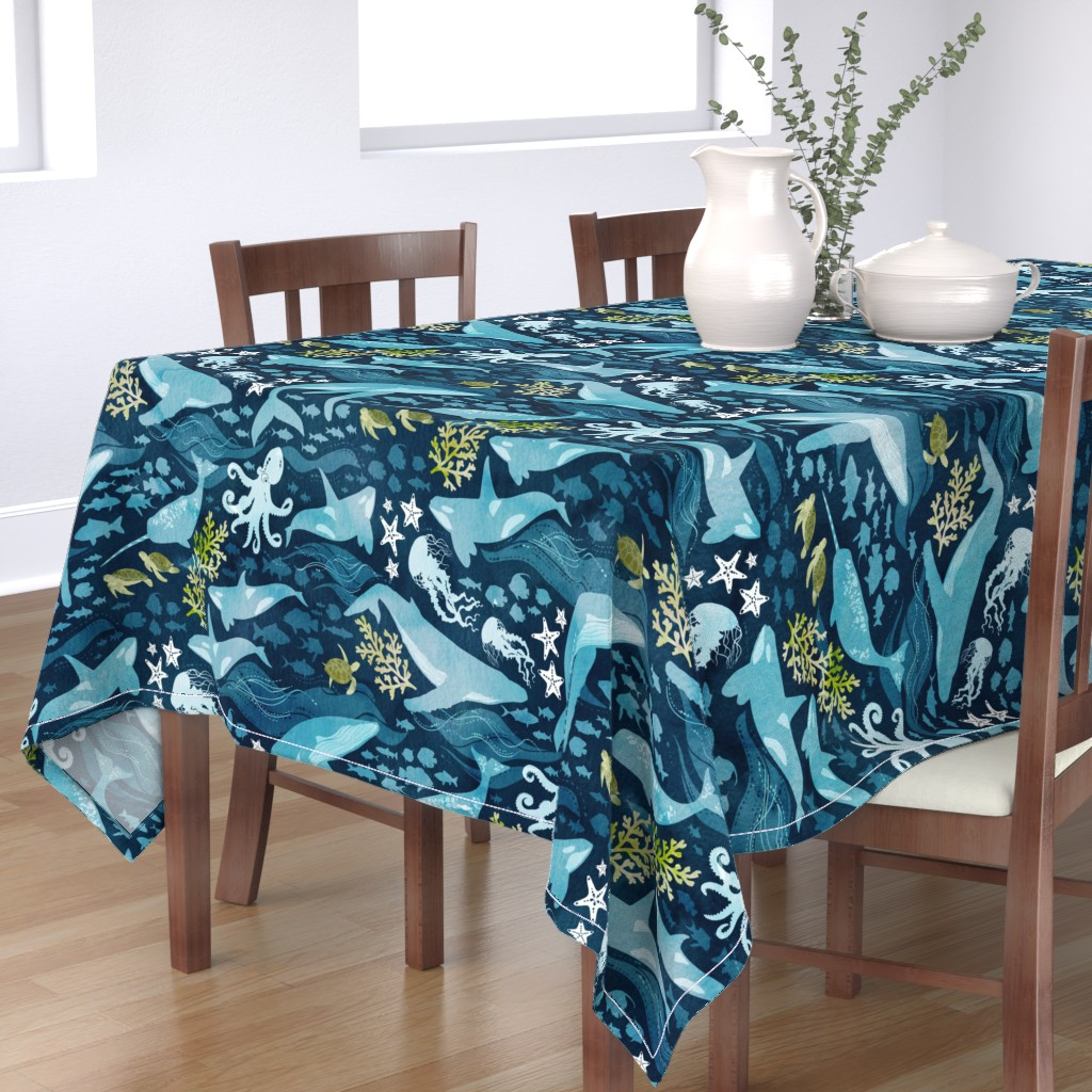 Bantam Rectangular Tablecloth featuring Ocean life in turquoise large scale by adenaj