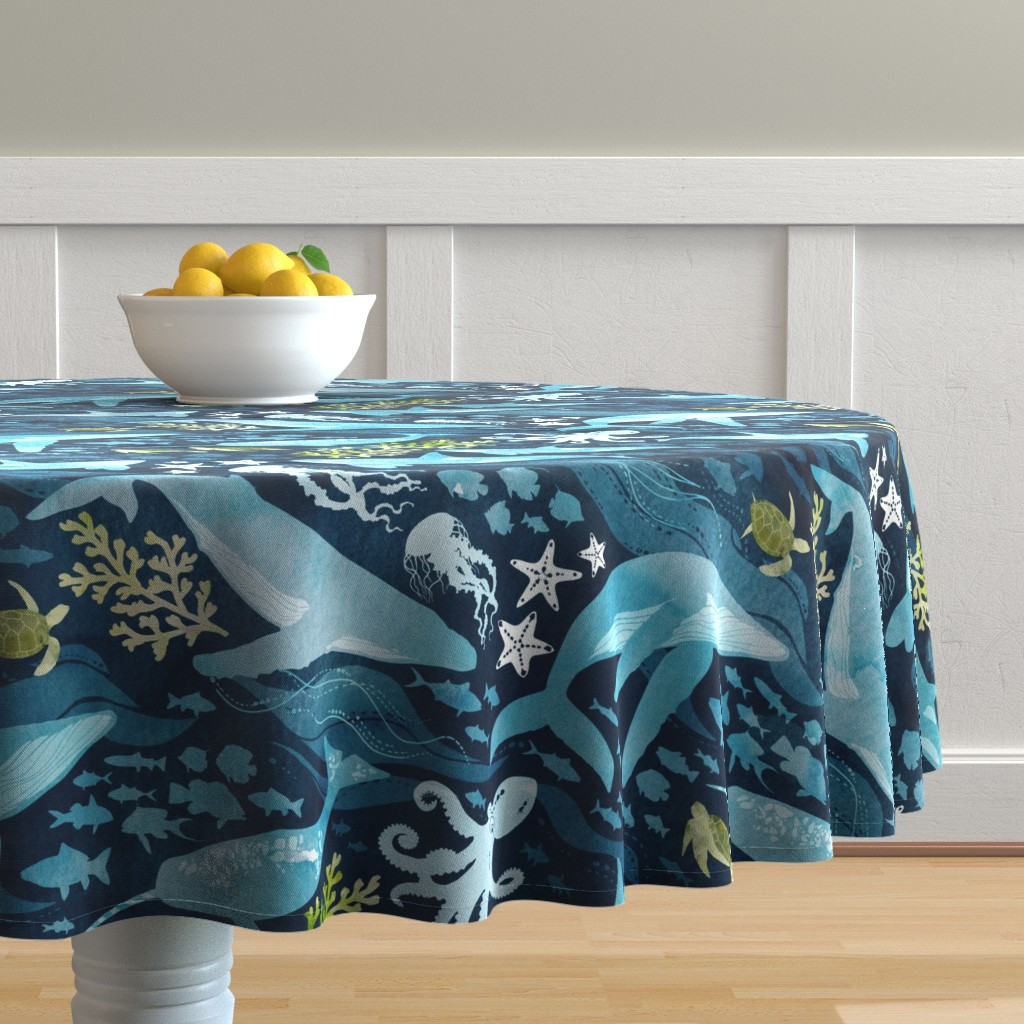 Malay Round Tablecloth featuring Ocean life in turquoise large scale by adenaj