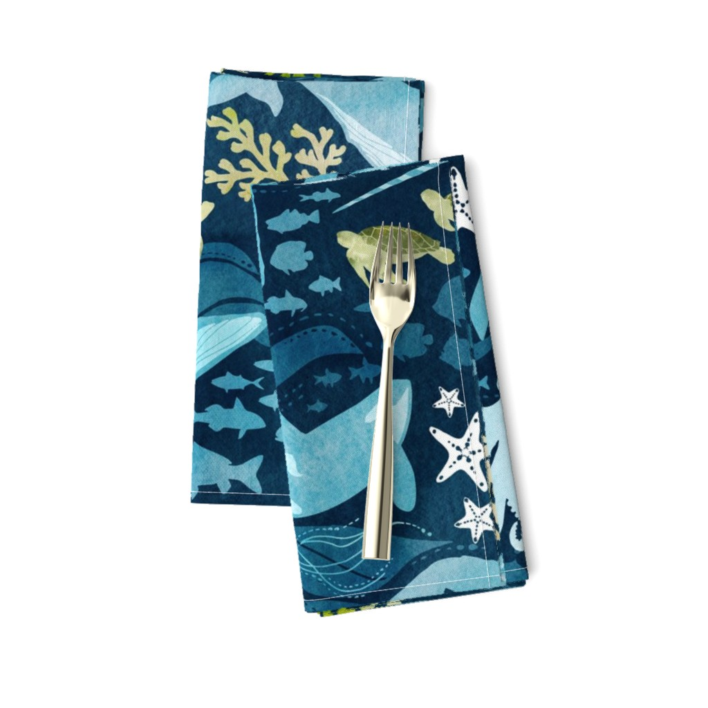 Amarela Dinner Napkins featuring Ocean life in turquoise large scale by adenaj