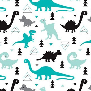 Adorable dino boys fabric with black and blue dinosaur geometric triangles and funky animal illustration theme for kids medium