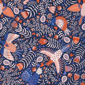 skandinavian folk art birds - turned