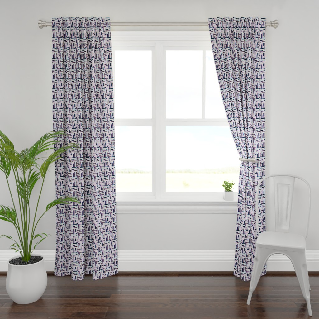 Plymouth Curtain Panel featuring Modern Bauhaus Watercolor Diamonds In Navy And Plum - Small by tigatiga
