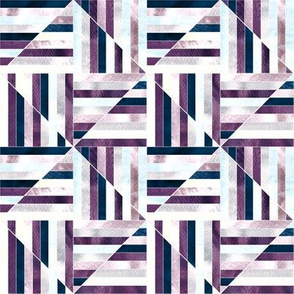 Modern Bauhaus Watercolor Diamonds In Navy And Plum - Small