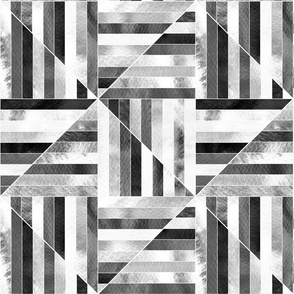 Modern Bauhaus Watercolor Diamonds In Black And White - Big