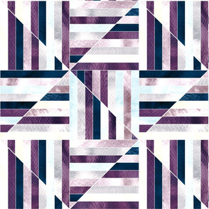 Modern Bauhaus Watercolor Diamonds In Navy And Plum - Big