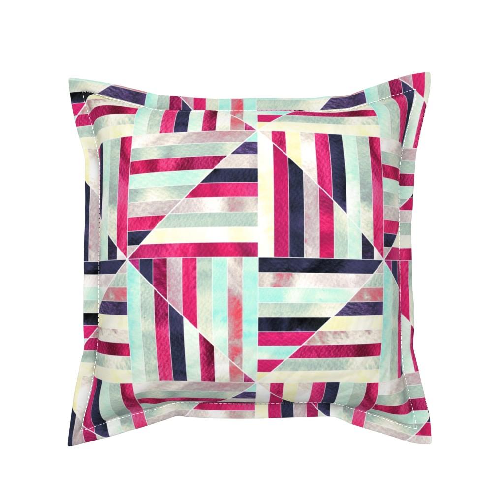 Serama Throw Pillow featuring Modern Bauhaus Watercolor Diamonds Muted - Big by tigatiga