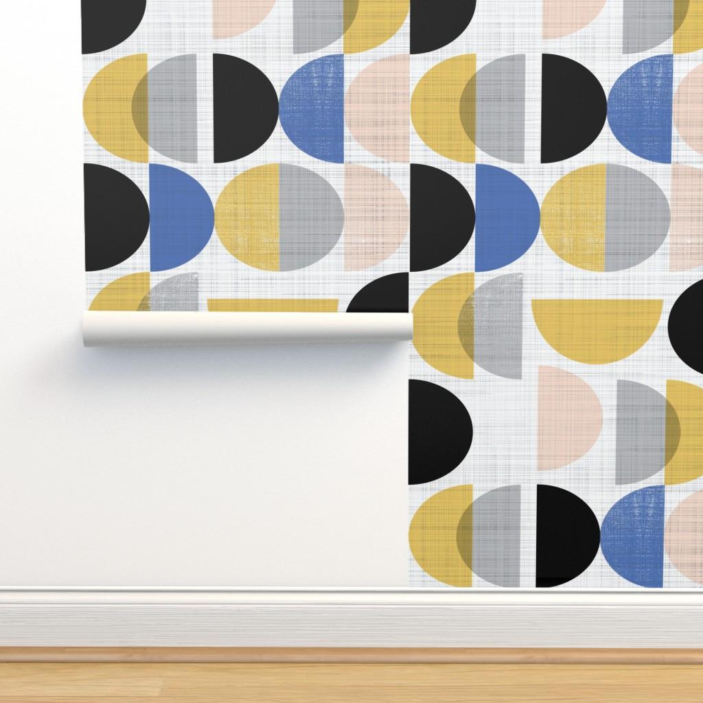 Isobar Durable Wallpaper featuring Bauhaus semi circles small scale  by gemmacosgroveball