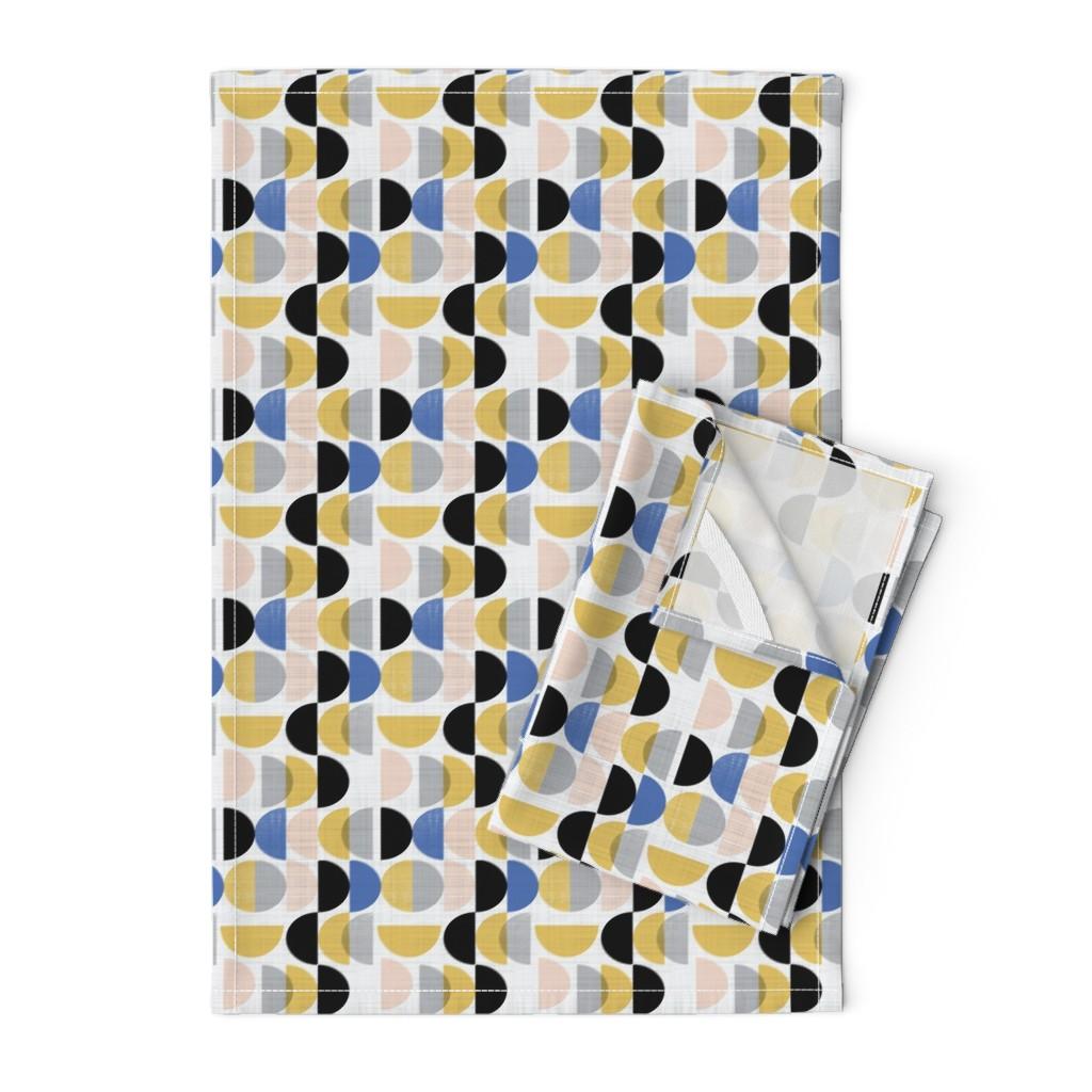 Orpington Tea Towels featuring Bauhaus semi circles small scale  by gemmacosgroveball