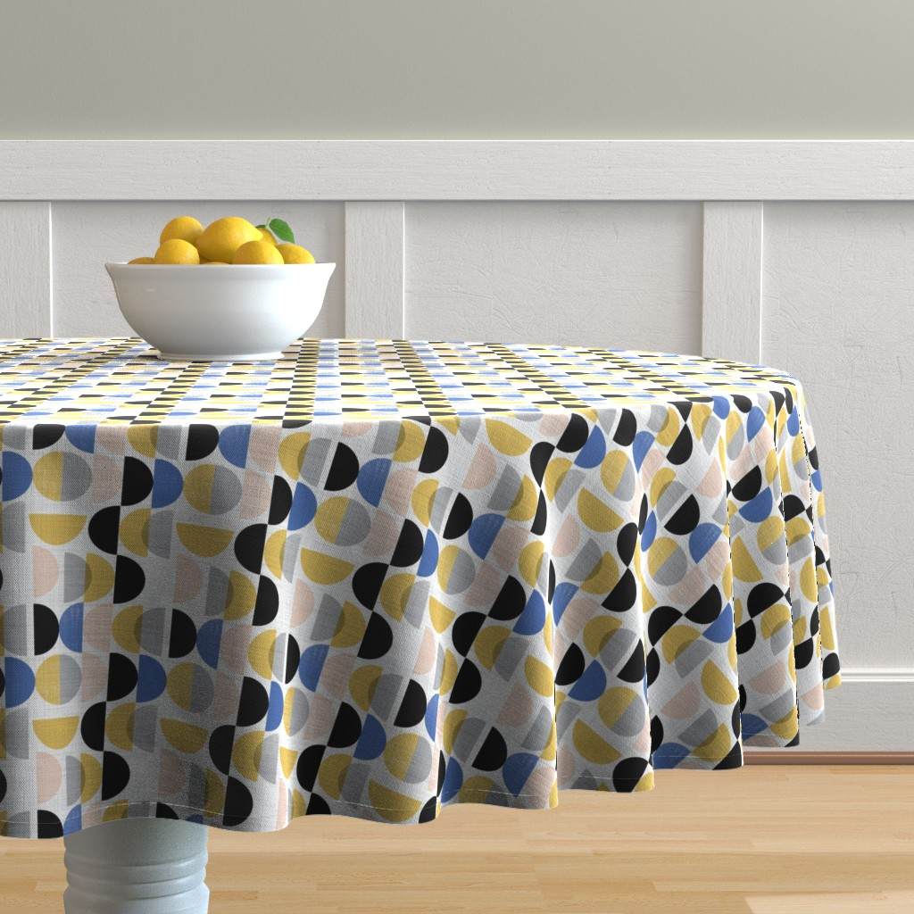 Malay Round Tablecloth featuring Bauhaus semi circles small scale  by gemmacosgroveball