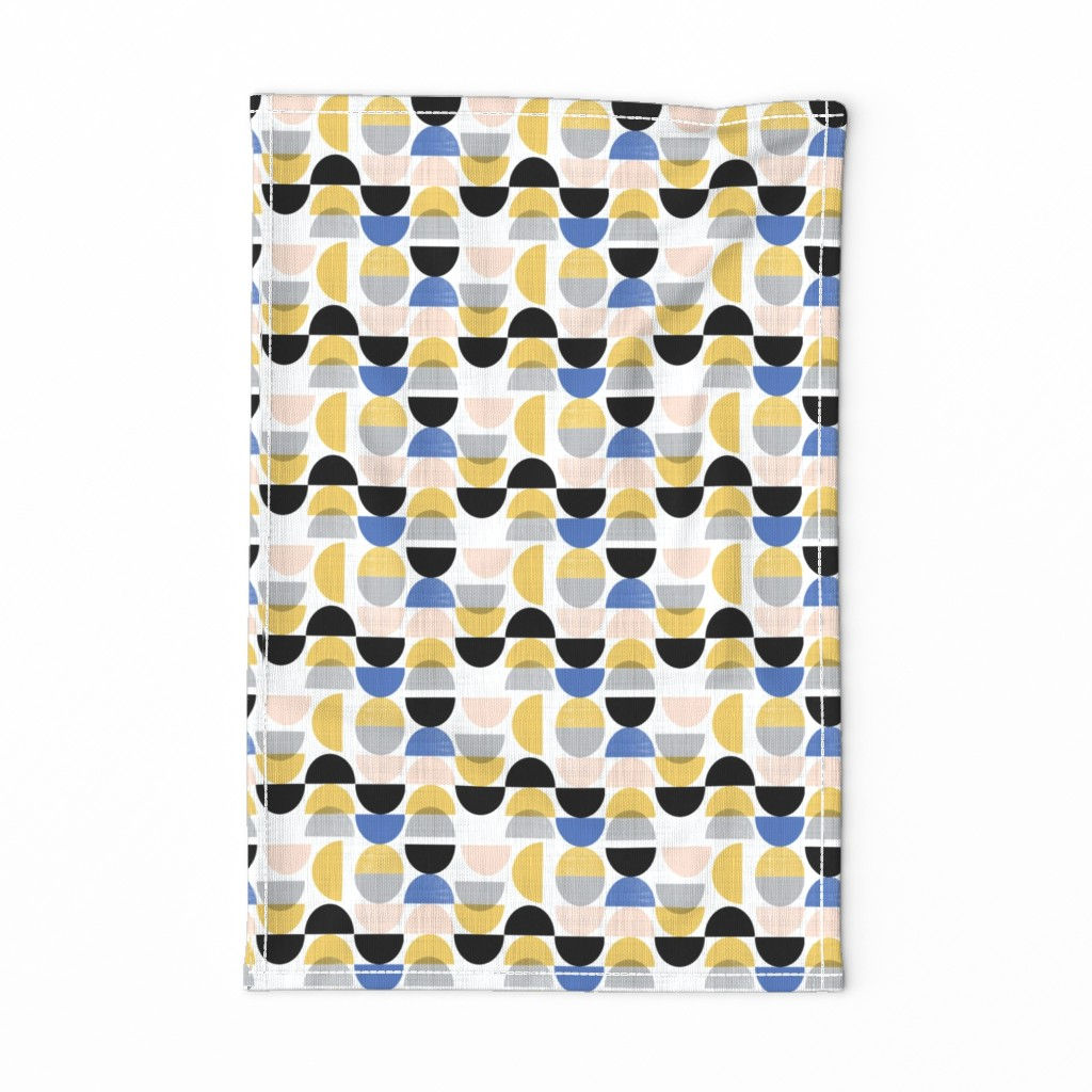 Special Edition Spoonflower Tea Towel featuring Bauhaus semi circles small scale  by gemmacosgroveball