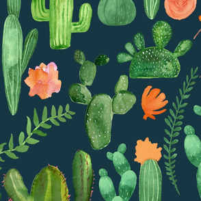 Green Cactus with Orange Accents on Blue Background