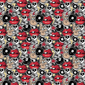Punk rock pattern with skulls, bones, red lips, rock attributes