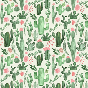 Pale green  cactus and pink flowers on cream
