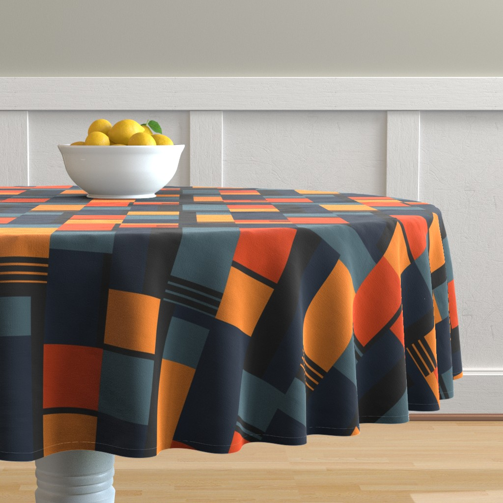 Malay Round Tablecloth featuring Bauhaus Inspired by meredith_watson