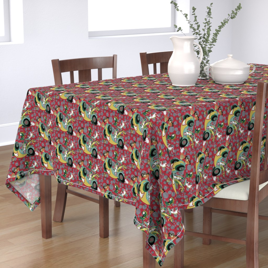 Bantam Rectangular Tablecloth featuring get in the car, we're goin' for a ride! large scale, red gray grey by amy_g