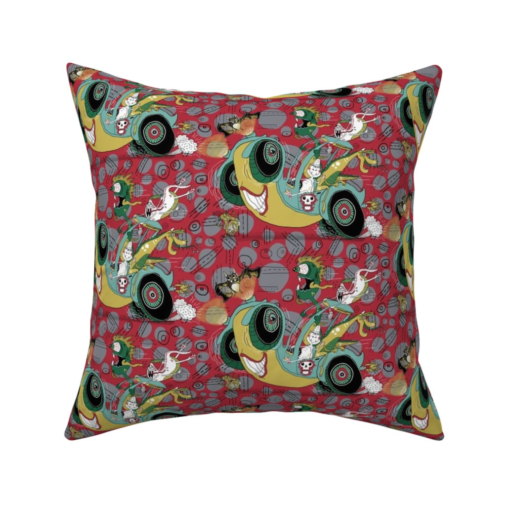 Catalan Throw Pillow featuring get in the car, we're goin' for a ride! large scale, red gray grey by amy_g