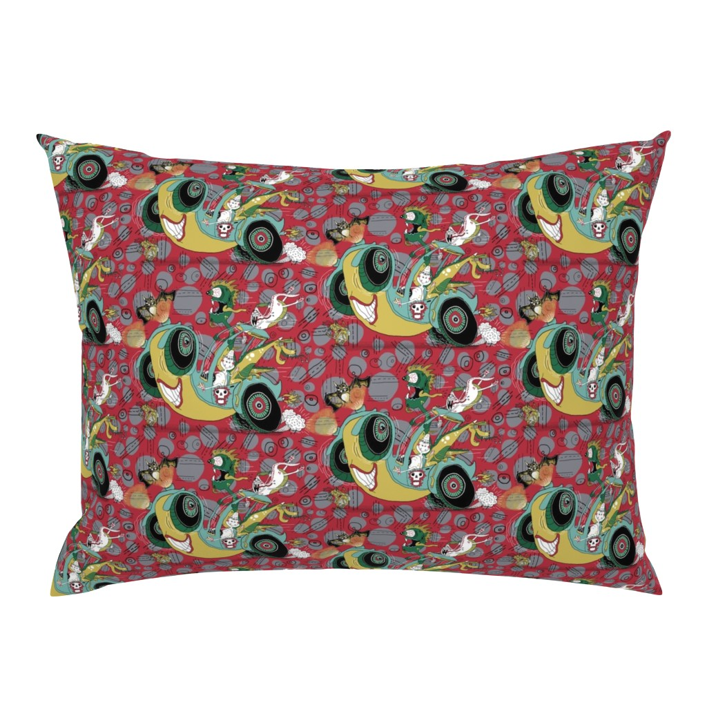 Campine Pillow Sham featuring get in the car, we're goin' for a ride! large scale, red gray grey by amy_g