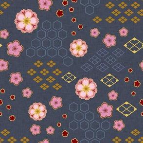 Sakura Traditional on Navy Blue