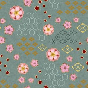Sakura Traditional on Teal
