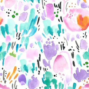 Watercolor Floral - Scandinavian Garden Flowers with Turquoise, Pink and Orange