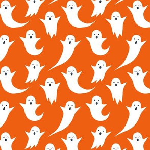 Halloween ghosts on orange (without spiders)