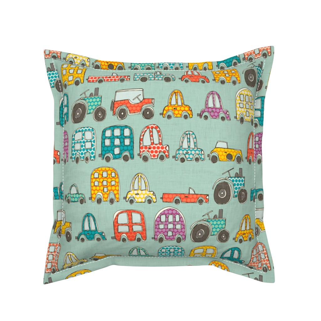 Serama Throw Pillow featuring retro rides mint by scrummy
