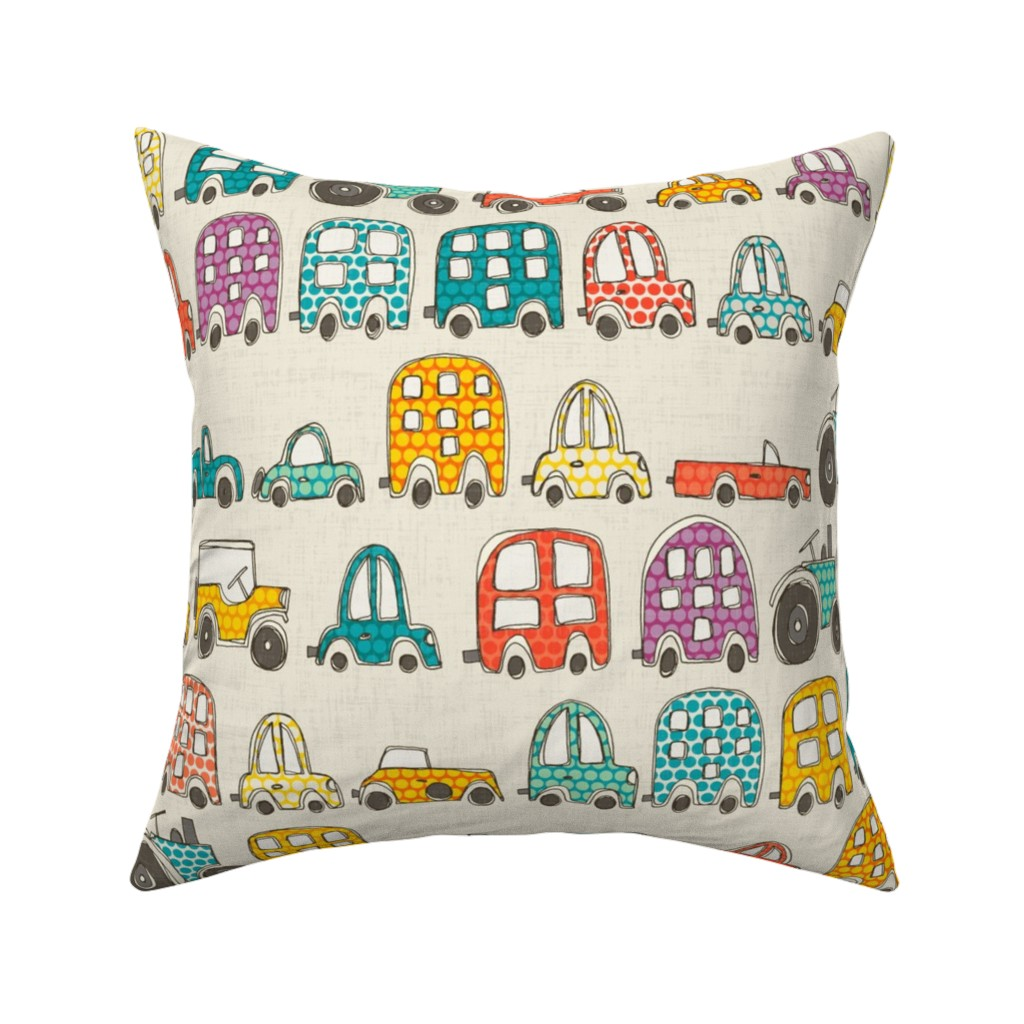 Catalan Throw Pillow featuring retro rides eggshell by scrummy