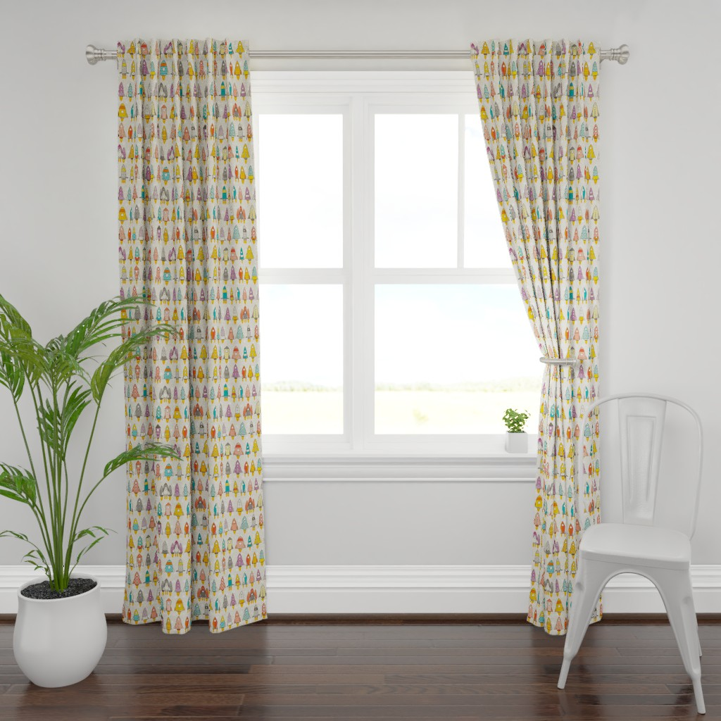 Plymouth Curtain Panel featuring retro rockets eggshell by scrummy