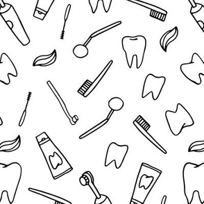 Dentistry and stomatology pattern design. Teeth, toothbrush, single-beam brush.