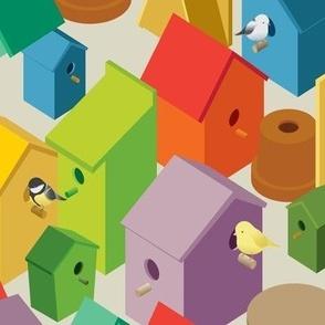 isometric bird houses