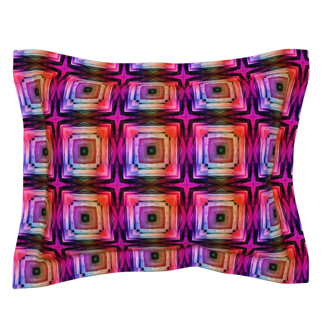 Sebright Pillow Sham featuring bamboo 8 rainbow marquetery tiles pink purple coral by paysmage