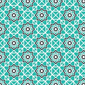 Mosaic Diamonds and Stars Asian Geometric Pattern