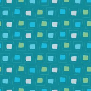 Tiny Pattern Squares Dream of Blue Dark