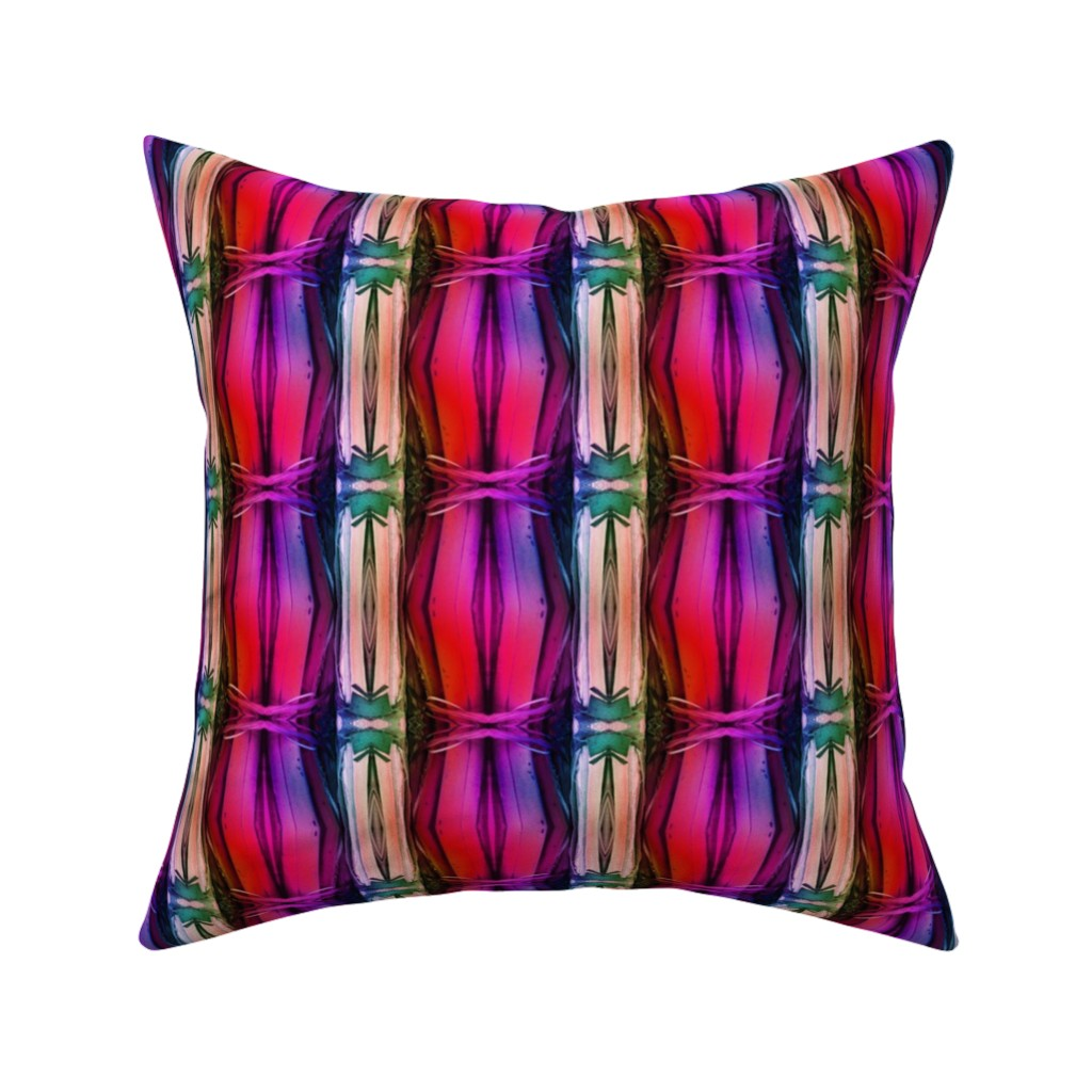 Catalan Throw Pillow featuring bamboo 11 stripes 1 pink purple coral rainbow by paysmage