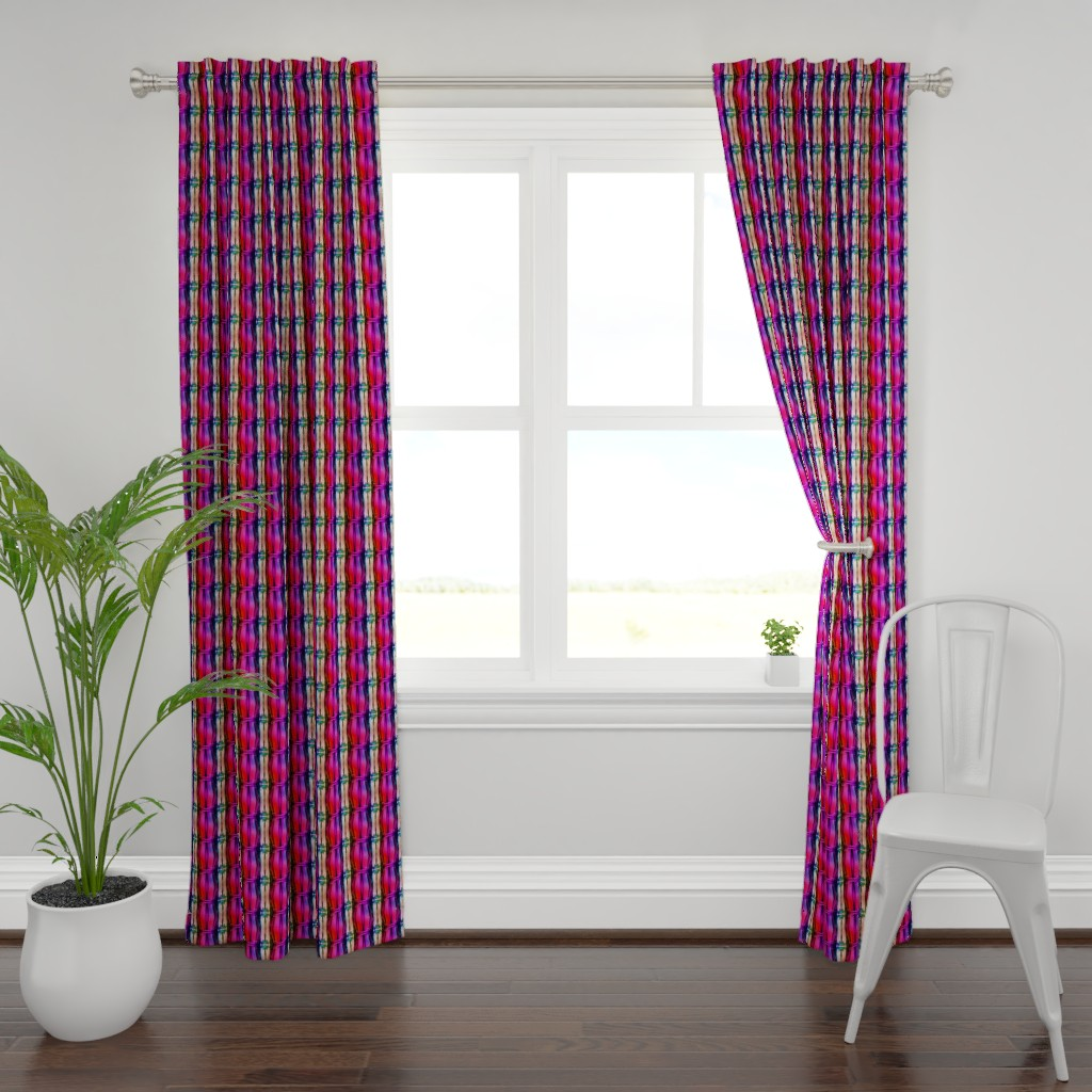 Plymouth Curtain Panel featuring bamboo 11 stripes 1 pink purple coral rainbow by paysmage