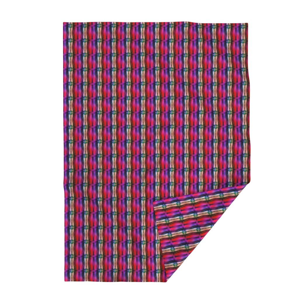 Lakenvelder Throw Blanket featuring bamboo 11 stripes 1 pink purple coral rainbow by paysmage