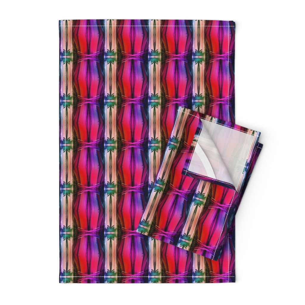 Orpington Tea Towels featuring bamboo 11 stripes 1 pink purple coral rainbow by paysmage