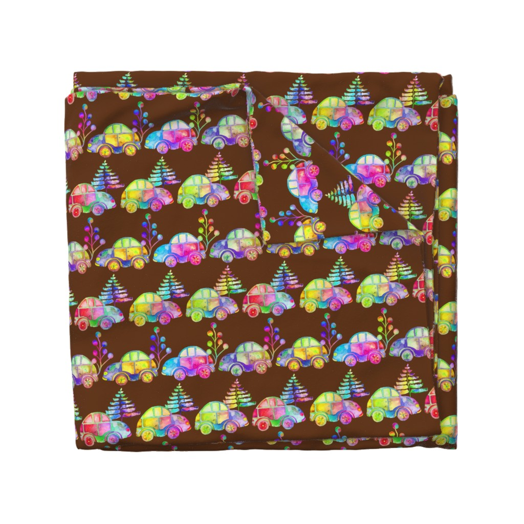 Wyandotte Duvet Cover featuring WATERCOLOR PRETTY CARS PROCESSION TRAFFIC ON BROWN by paysmage