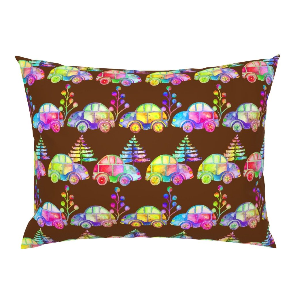 Campine Pillow Sham featuring WATERCOLOR PRETTY CARS PROCESSION TRAFFIC ON BROWN by paysmage